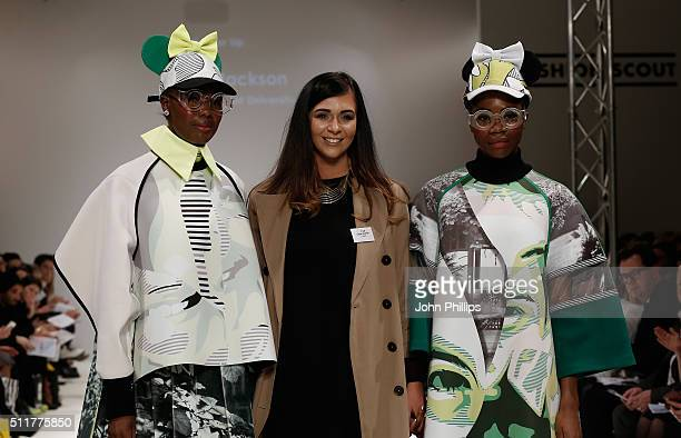Chloe Jackson of Nottingham Trent University runner up at FAD Competition and models at the FAD show at Fashion Scout during London Fashion Week...
