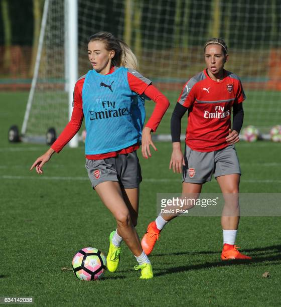 Chloe Kelly and Jordan Nobbs of Arsenal Ladies during Arsenal Ladies Training Session at London Colney on February 7 2017 in St Albans England