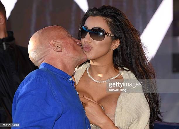 Chloe Khan and Stephen Bear's father attend Celebrity Big Brother 2016 at Elstree Studios on August 19 2016 in Borehamwood England