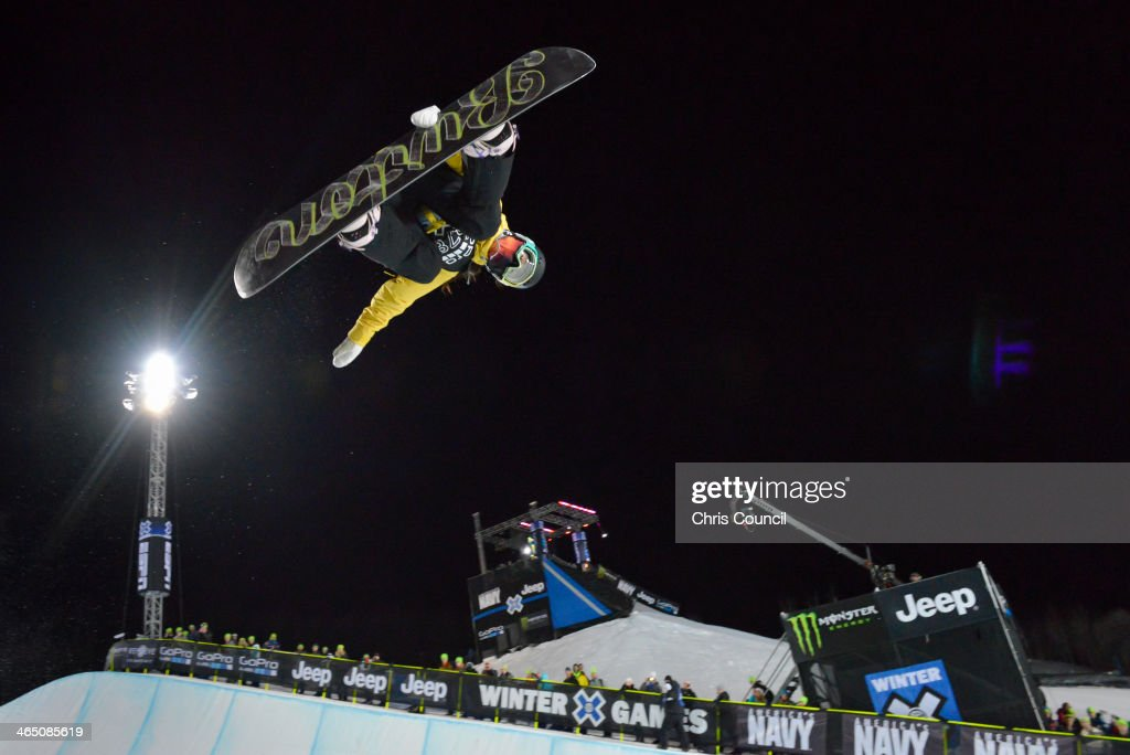 Chloe Kim, 13 years old, competes in the Winter X-Games 2014 women's Snowboard Superpipe final at Buttermilk Mountain on January 25, 2014 in Aspen, Colorado. Kim earned the silver medal in the event.