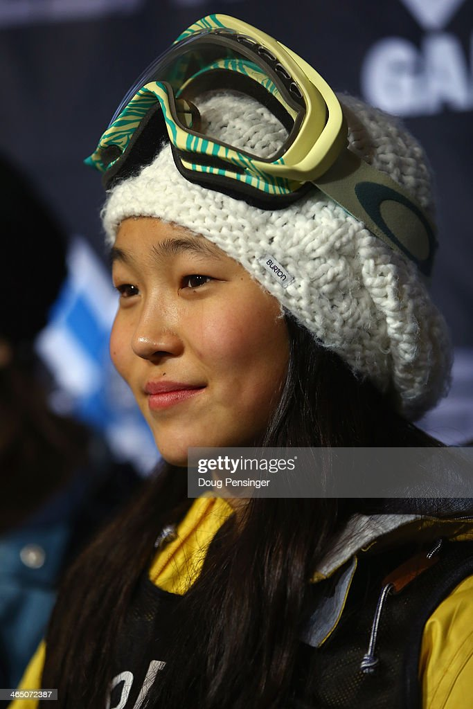 Chloe Kim attends a press conference after finishing second in the women's Snowboard Superpipe at Winter X-Games 2014 Aspen at Buttermilk Mountain on January 25, 2014 in Aspen, Colorado.