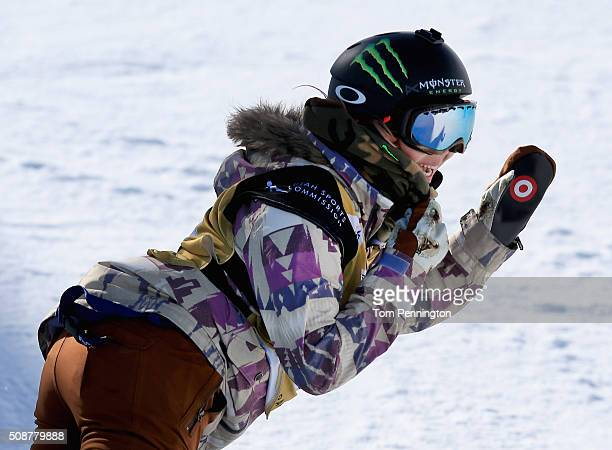 Chloe Kim celebrates a first place finish in the ladies' FIS Snowboard World Cup at the 2016 US Snowboarding Park City Grand Prix on February 6 2016...