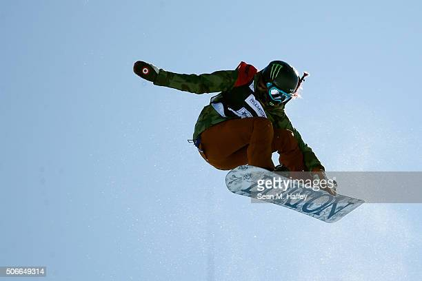 Chloe Kim competes to a second place finish in the Women's Halfpipe Final at the 2016 US Snowboarding Grand Prix at Mammoth Mountain Resort on...