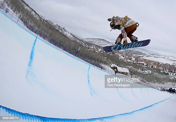 Chloe Kim during qualifying for the women's Snowboard Halfpipe at the 2016 US Snowboarding Park City Grand Prix on February 4 2016 in Park City Utah