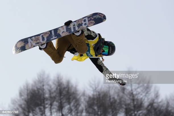 Chloe Kim from USA competes in the FIS Snowboard World Cup Ladies' Halfpipe Finals at Bokwang Snow Park on February 19 2017 in Pyeongchanggun South...