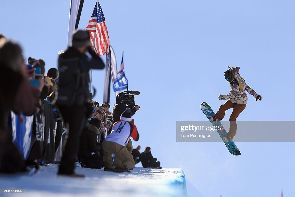 <a gi-track='captionPersonalityLinkClicked' href=/galleries/search?phrase=Chloe+Kim&family=editorial&specificpeople=12118683 ng-click='$event.stopPropagation()'>Chloe Kim</a> in action en route to first place finish in the ladies' FIS Snowboard World Cup at the 2016 U.S Snowboarding Park City Grand Prix on February 6, 2016 in Park City, Utah.