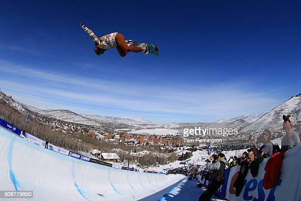 Chloe Kim in action en route to first place finish in the ladies' FIS Snowboard World Cup at the 2016 US Snowboarding Park City Grand Prix on...