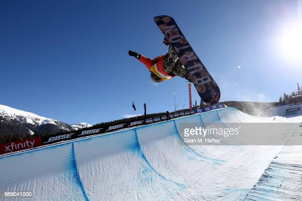 Chloe Kim of the United States competes in the finals of the FIS Snowboard World Cup 2018 Ladies Snowboard Halfpipe final during the Toyota US Grand...