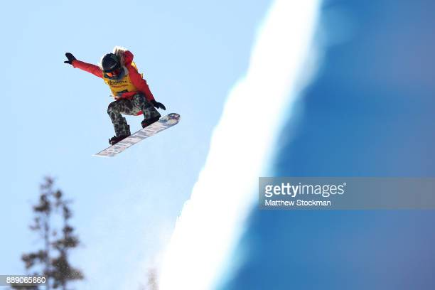 Chloe Kim of the United States competes in the FIS World Cup 2018 Ladies Snowboard Halfpipe final during the Toyota US Grand Prix on December 9 2017...