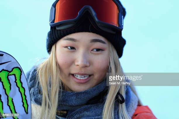 Chloe Kim of the United States looks on after the finals of the FIS Snowboard World Cup 2018 Ladies' Snowboard Halfpipe during the Toyota US Grand...
