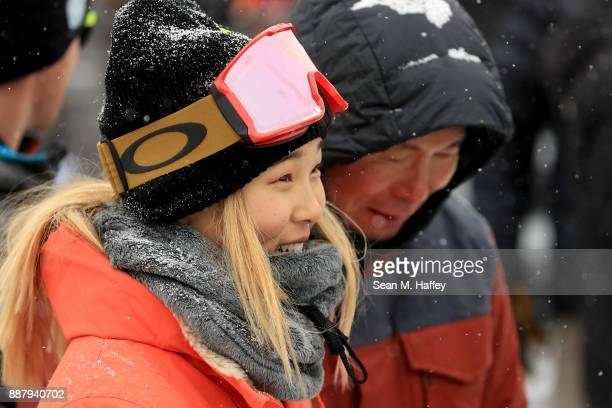 Chloe Kim of the United States looks on during a qualifying round of the FIS Snowboard World Cup 2018 Ladies' Snowboard Halfpipe during the Toyota US...
