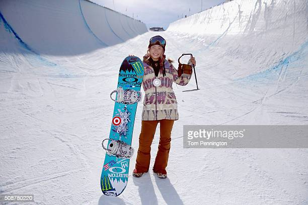 Chloe Kim poses for a photo after a first place finish in the ladies' FIS Snowboard World Cup at the 2016 US Snowboarding Park City Grand Prix on...
