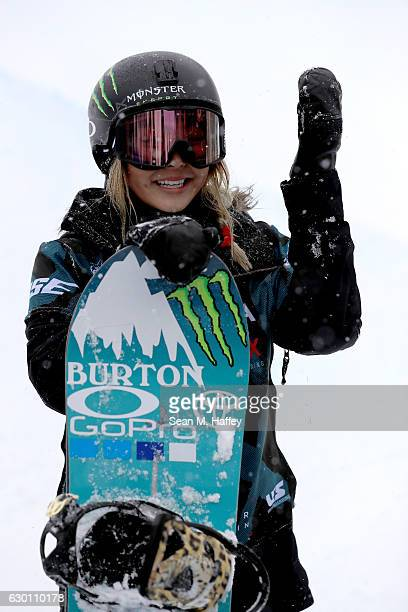 Chloe Kim reacts to her third run in the final round of the FIS Snowboard World Cup 2017 Ladies' Snowboard Halfpipe during The Toyota US Grand Prix...