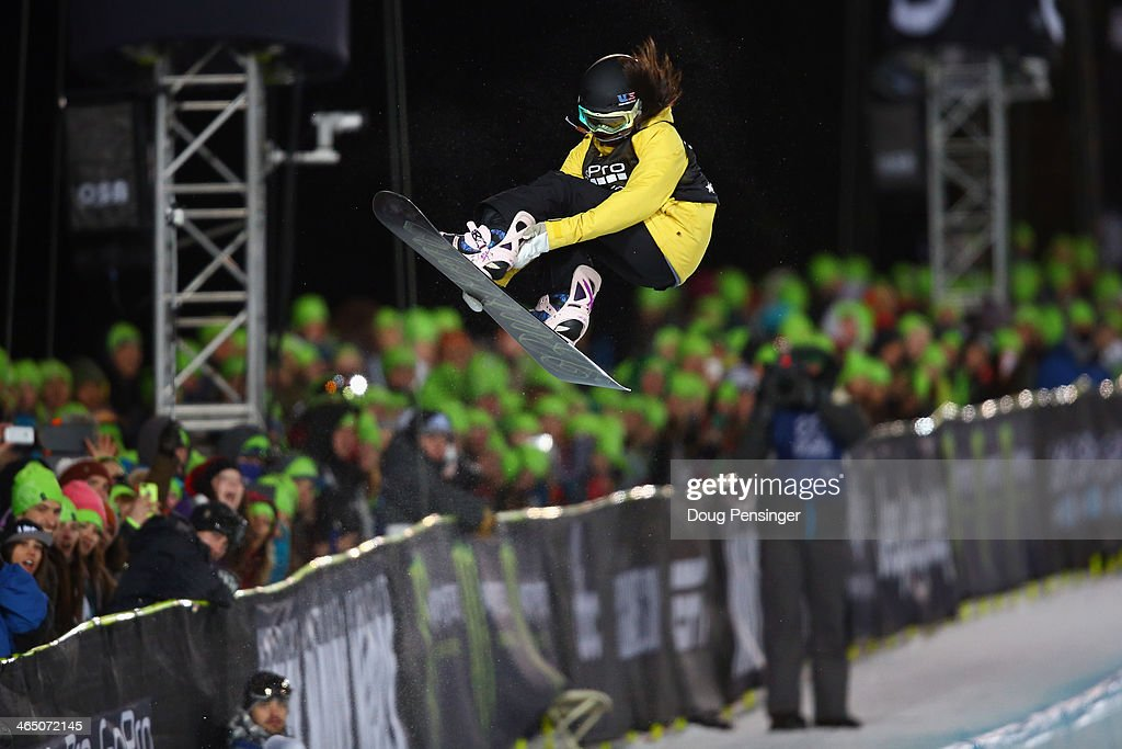 Chloe Kim spins above the pipe as she finished second in the women's Snowboard Superpipe at Winter X-Games 2014 Aspen at Buttermilk Mountain on January 25, 2014 in Aspen, Colorado.
