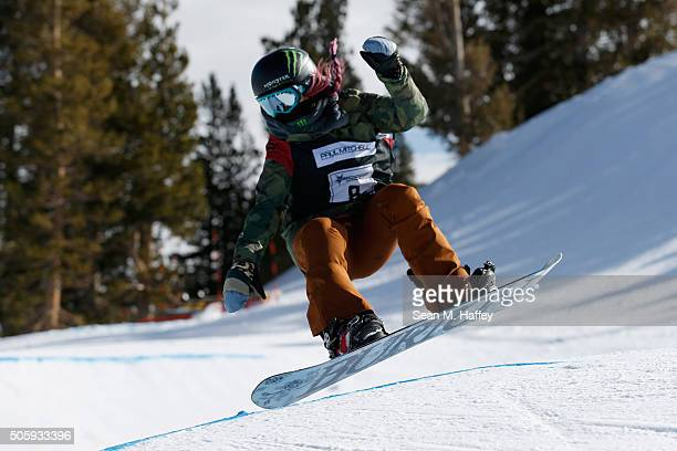 Chloe Kim takes a practice run in the Halfpipe during the 2016 US Snowboarding Grand Prix at Mammoth Mountain Resort on January 20 2016 in Mammoth...
