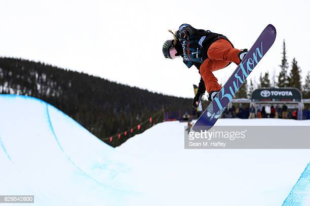 Chloe Kim takes a practice run in the halfpipe during the 2017 US Snowboarding Grand Prix at Copper Mountain on December 13 2016 in Copper Mountain...