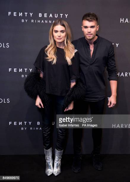 Chloe Lloyd and Josh Cuthbert arrive at the Fenty Beauty by Rihanna launch party at Harvey Nichols Knightsbridge London