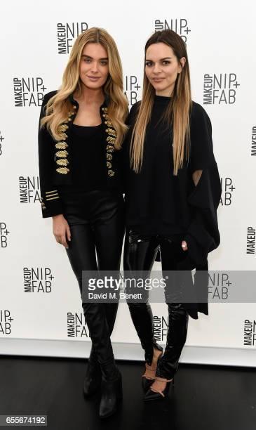 Chloe Lloyd and Maria Hatzistefanis attend the Mario Dedivanovic Maria Hatzistefanis launch of NIPFAB Makeup with model Chloe Lloyd on March 20 2017...
