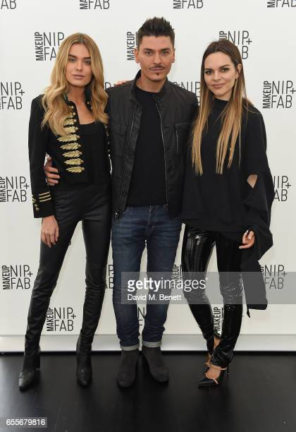 Chloe Lloyd Mario Dedivanovic and Maria Hatzistefanis attend the Mario Dedivanovic Maria Hatzistefanis launch of NIPFAB Makeup with model Chloe Lloyd...