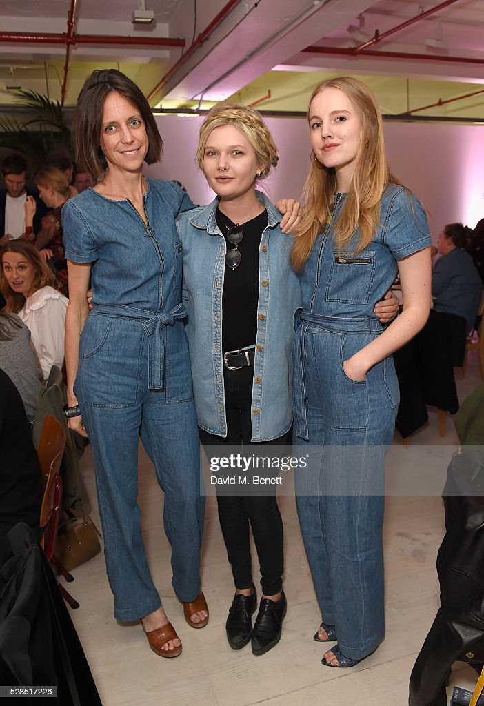Chloe Lonsdale, Sophie Kennedy Clark and Alexandra Carl attend a private dinner hosted by M.i.h Jeans to celebrate their 10th anniversary at Brewer Street Car Park on May 5, 2016 in London, England.