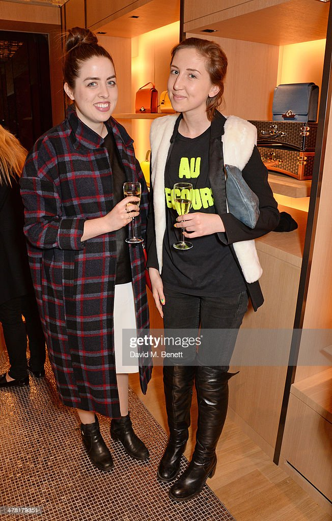 Chloe Mac Donnell (L) and Alice Tate attend the Moynat London boutique opening on March 12, 2014 in London, England.