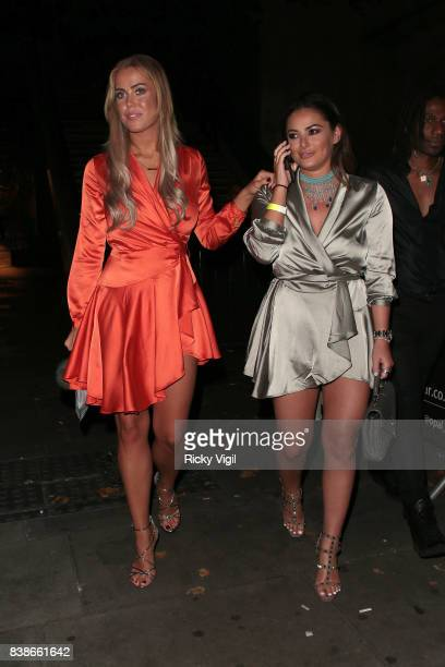 Chloe Meadows and Courtney Green attend Kem Cetinay BoohooMAN collection launch party at Opal Bar on August 24 2017 in London England
