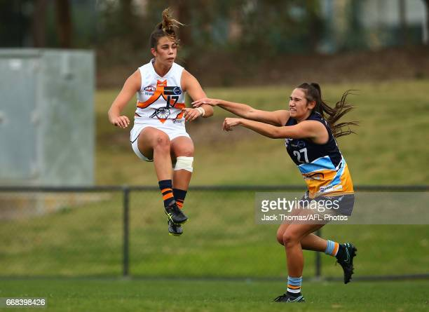 Chloe Molloy of the Calder Cannons kicks the ball during the TAC Cup Girls round five match between the Calder Cannons and the Bendigo Pioneers at...