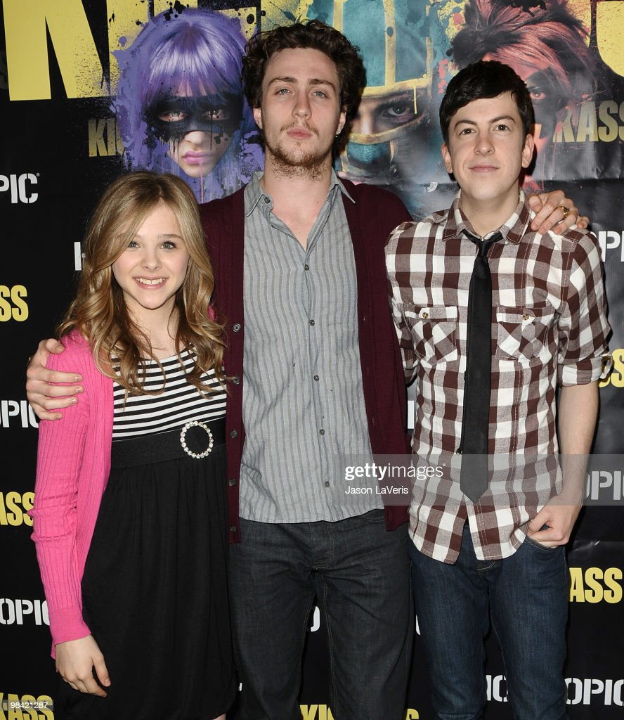 Chloe Moretz, Aaron Johnson and <a gi-track='captionPersonalityLinkClicked' href=/galleries/search?phrase=Christopher+Mintz-Plasse&family=editorial&specificpeople=4326251 ng-click='$event.stopPropagation()'>Christopher Mintz-Plasse</a> attend the 'Kick-Ass' cast meet and greet fan event at Hot Topic on April 12, 2010 in Hollywood, California.