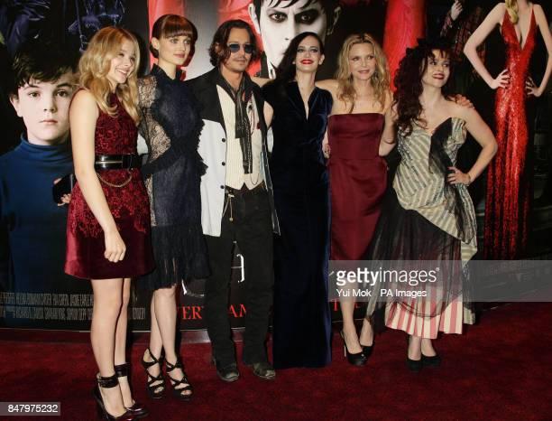 Chloe Moretz Bella Heathcote Johnny Depp Eva Green Michelle Pfeiffer and Helena Bonham Carter arriving at the Dark Shadows UK film premiere at the...