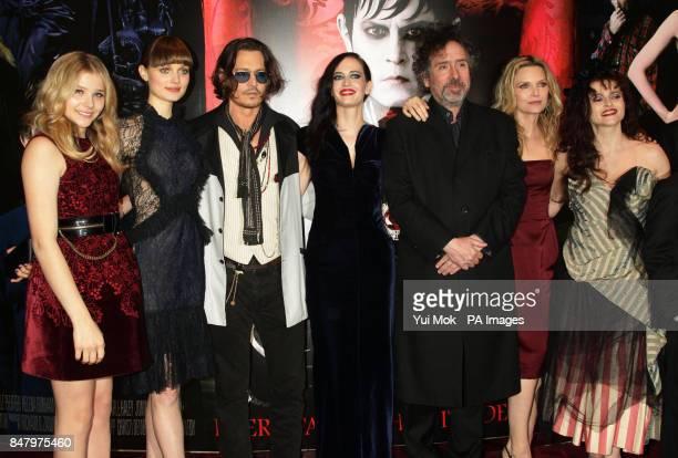 Chloe Moretz Bella Heathcote Johnny Depp Eva Green Tim Burton Michelle Pfeiffer and Helena Bonham Carter arriving at the Dark Shadows UK film...