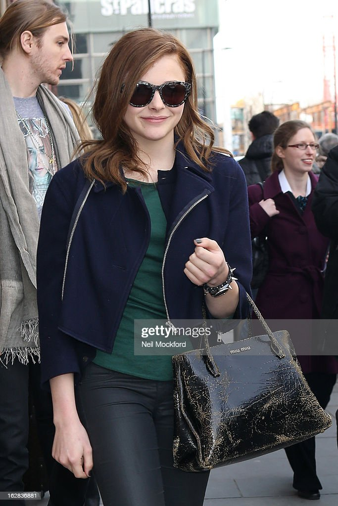 Chloe Moretz seen arriving from Paris on Eurostar at King's Cross St Pancras on February 28, 2013 in London, England.