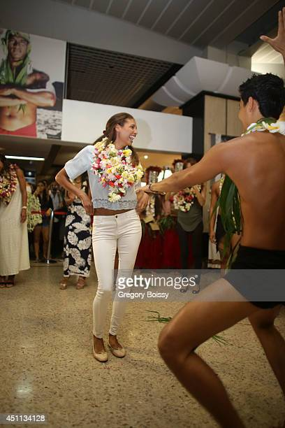 Chloe Mortaud dances during the Tahiti Graffiti Festival on June 23 2014 in Papeete French Polynesia Seven former Miss France have arrived this...