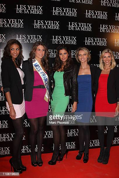 Chloe Mortaud Miss France Laury Thilleman Malika Menard Sylvie Tellier and Alexandra Rosenfeld attend the 'Les yeux de sa mere' Paris Premiere on...