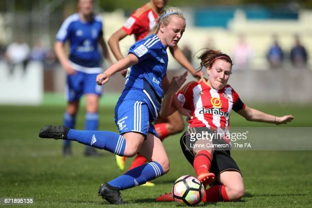 Chloe Peplow of Birmingham City is tackled by Stephaine Bannon of Sunderland Ladies during the match between Birmingham City and Sunderland Ladies in...