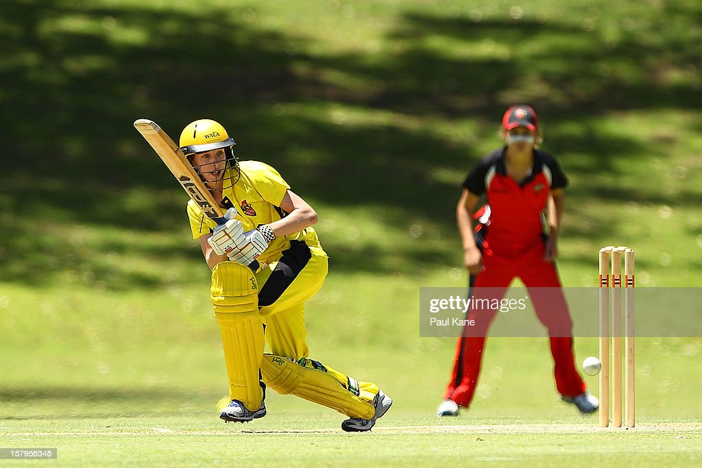 Chloe Piparo of the Fury bats during the WNCL match between the Western Australia Fury and the South Australia Scorpions at Christ Church Grammar Playing Fields on December 8, 2012 in Perth, Australia.