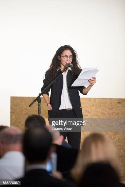 Chloe Rejon reads 'Tombeau pour Cinq Cent Mille Soldats' for 50th anniversary of the book at Azzedine Alaia Gallery on October 19 2017 in Paris France