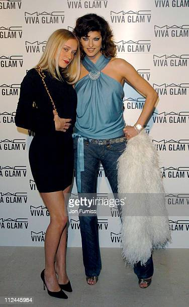 Chloe Sevigny and Linda Evangelista during 2004 London Fashion Week Autumn/Winter MAC Viva Glam Launch Dinner at Hempel Hotel in London Great Britain