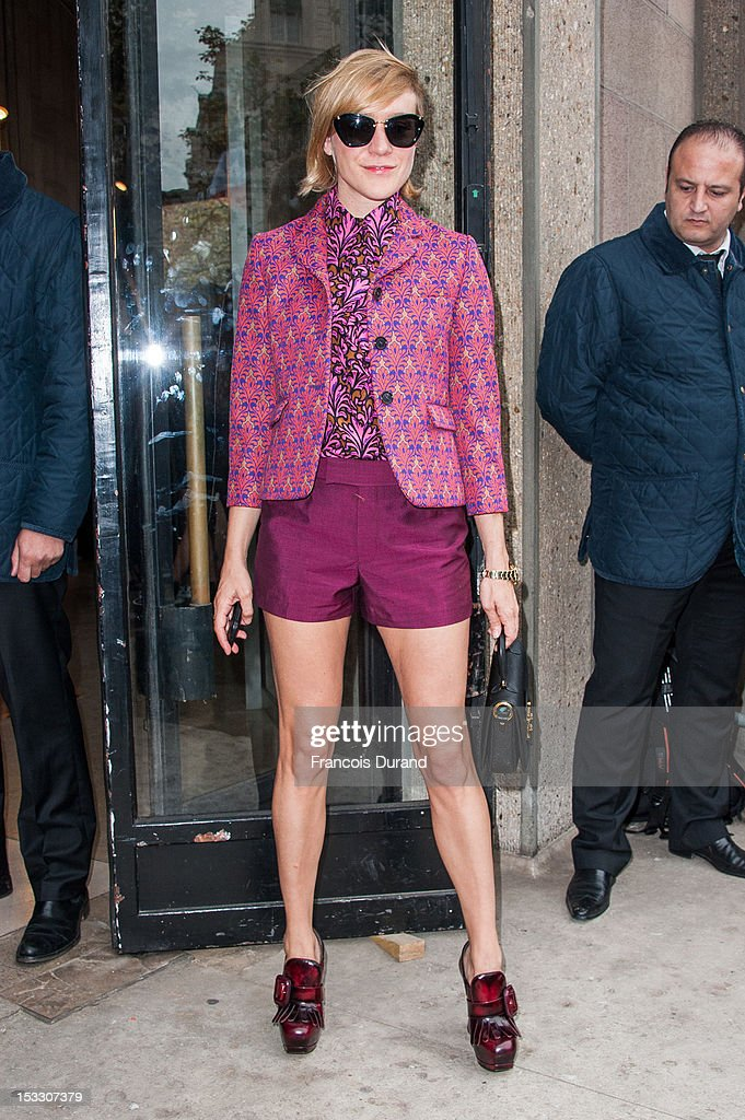 Chloe Sevigny arrives at the Miu Miu Spring/Summer 2013 show as part of Paris Fashion Week on October 3, 2012 in Paris, France.