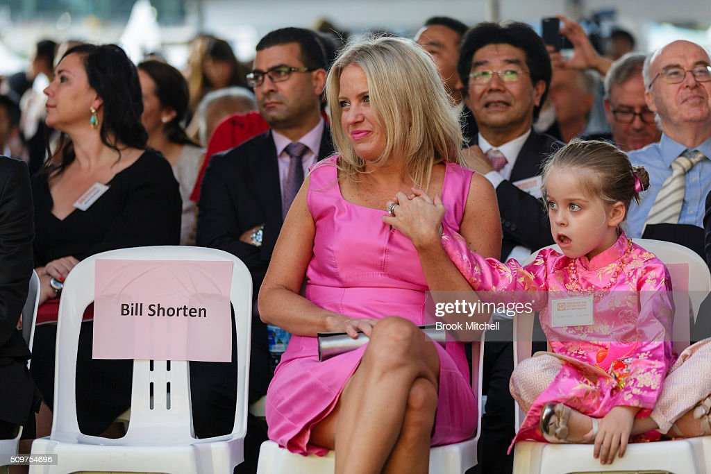 Chloe Shorten and daughter Clementine at the Chinese New Year Lantern Festival at Tumbalong Park on February 12, 2016 in Sydney, Australia. The lighting of lanterns is a centuries old tradition that marks the end of the Chinese New Year Festival.