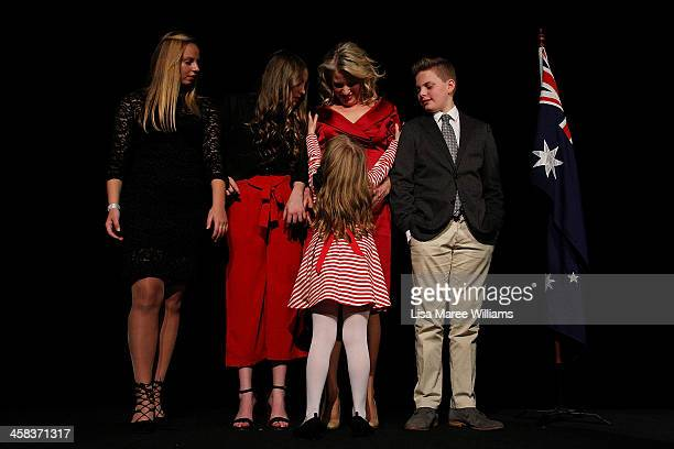 Chloe Shorten and family Alexandra Georgette Clementine and Rupert join Leader of the Labor Party Bill Shorten on stage at Moonee Valley Racing Club...
