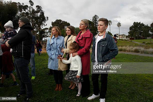 Chloe Shorten and family Alexandra Georgette Clementine and Rupert look on as Opposition Leader Australian Labor Party Bill Shorten addresses the...