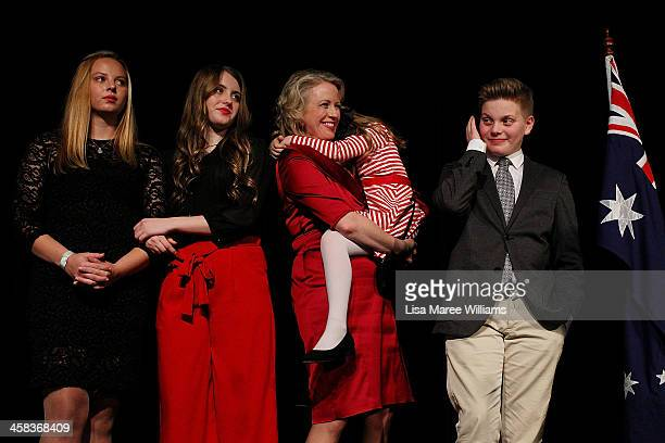 Chloe Shorten and family Alexandria Georgette Clementine and Rupert join Leader of the Labor Party Bill Shorten on stage as he thanks supporters at...