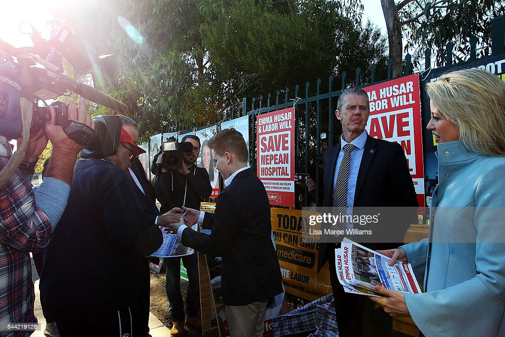 Chloe Shorten and Rupert support Opposition Leader, Australian Labor Party Bill Shorten during a visit to a polling booth at Colyton on July 2, 2016 in Sydney, Australia. After 8 official weeks of campaigning, Labor party leader, Bill Shorten will cast his vote and await results as Australians head to the polls to elect the 45th Parliament.