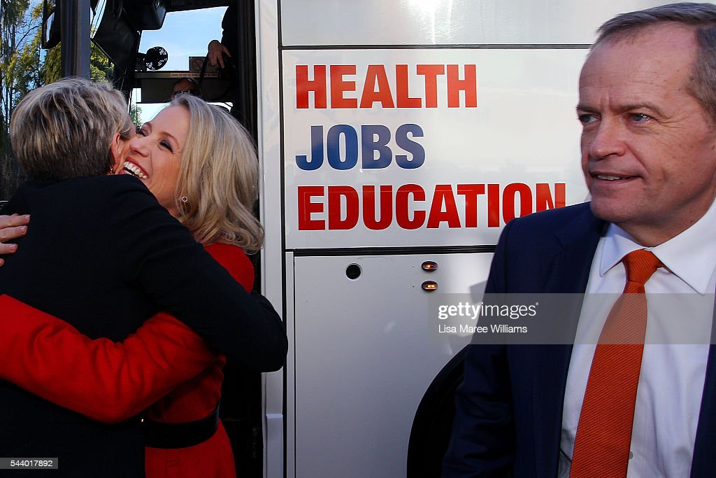 Chloe Shorten greets Deputy Leader of the Opposition Tanya Plibersek (L) as Leader of the Opposition <a gi-track='captionPersonalityLinkClicked' href=/galleries/search?phrase=Bill+Shorten&family=editorial&specificpeople=606712 ng-click='$event.stopPropagation()'>Bill Shorten</a> looks on during a visit to Northcott, a disability support centre in Parramatta on July 1, 2016 in Sydney, Australia.<a gi-track='captionPersonalityLinkClicked' href=/galleries/search?phrase=Bill+Shorten&family=editorial&specificpeople=606712 ng-click='$event.stopPropagation()'>Bill Shorten</a> is campaigning heavily on Medicare, promising to make sure it isn't privatised if the Labor Party wins the Federal Election on July 2.