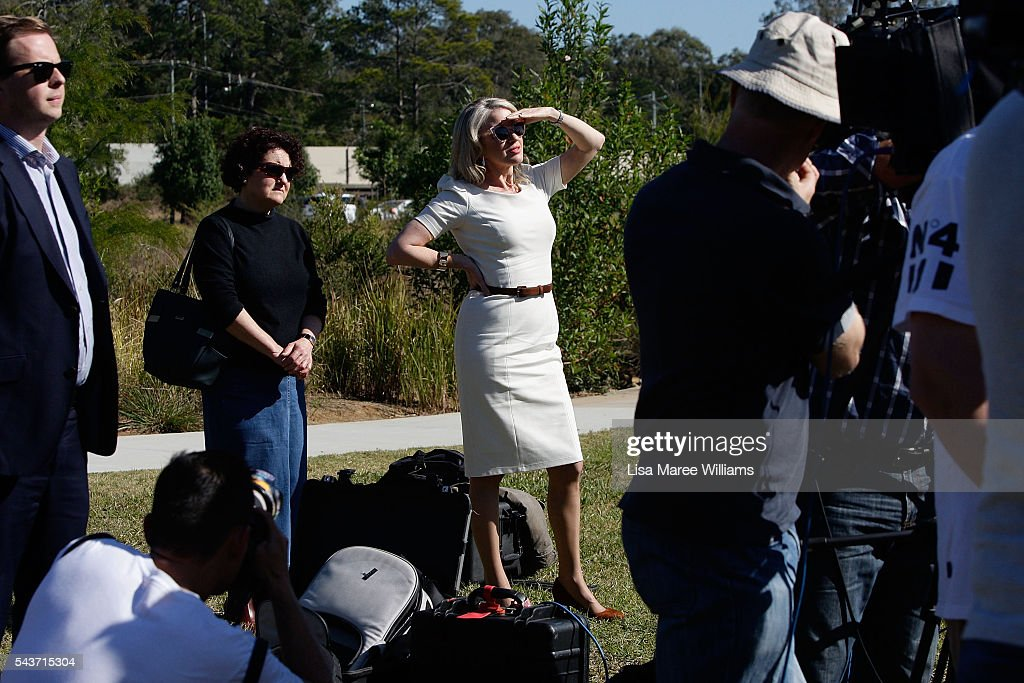 Chloe Shorten looks on as Opposition Leader, Australian Labor Party Bill Shorten attends a press conference on June 30, 2016 in Logan, Australia. Bill Shorten is campaigning heavily on Medicare, promising to make sure it isn't privatised if the Labor Party wins the Federal Election on July 2.