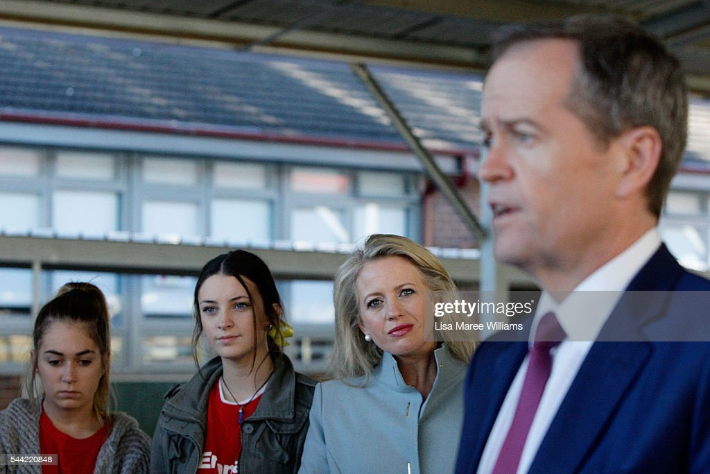 Chloe Shorten looks on as Opposition Leader, Australian Labor Party Bill Shorten speaks with the media during a visit to a polling booth at Colyton on July 2, 2016 in Sydney, Australia. After 8 official weeks of campaigning, Labor party leader, Bill Shorten will cast his vote and await results as Australians head to the polls to elect the 45th Parliament.