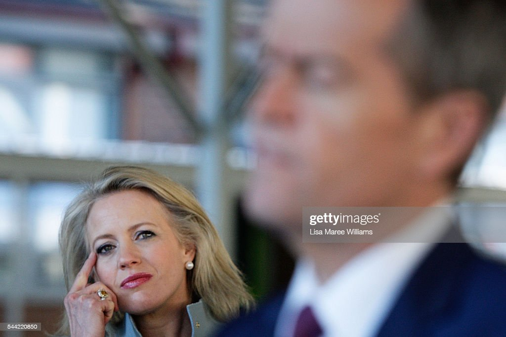 Chloe Shorten looks on as Opposition Leader, Australian Labor Party <a gi-track='captionPersonalityLinkClicked' href=/galleries/search?phrase=Bill+Shorten&family=editorial&specificpeople=606712 ng-click='$event.stopPropagation()'>Bill Shorten</a> speaks with the media during a visit to a polling booth at Colyton on July 2, 2016 in Sydney, Australia. After 8 official weeks of campaigning, Labor party leader, <a gi-track='captionPersonalityLinkClicked' href=/galleries/search?phrase=Bill+Shorten&family=editorial&specificpeople=606712 ng-click='$event.stopPropagation()'>Bill Shorten</a> will cast his vote and await results as Australians head to the polls to elect the 45th Parliament.