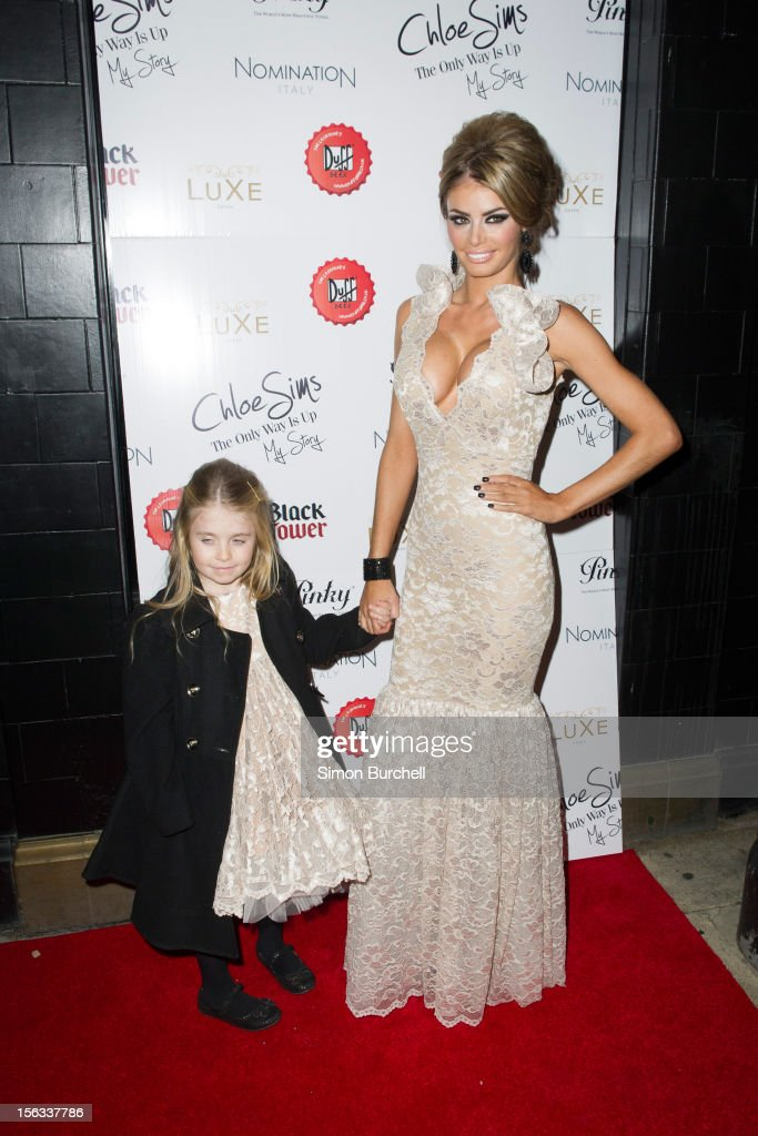 Chloe Sims and daughter Madison attend the launch of Chloe Sims book 'Chloe Sims: The Only Way Is Up' at Luxe Nightclub on November 13, 2012 in Loughton, Essex.