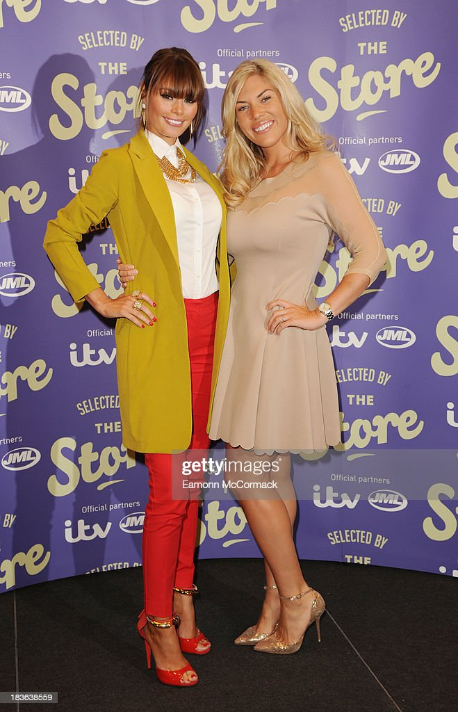Chloe Sims and Frankie Essex attend a photocall to launch new shopping channel 'The Store' at BAFTA on October 8, 2013 in London, England.
