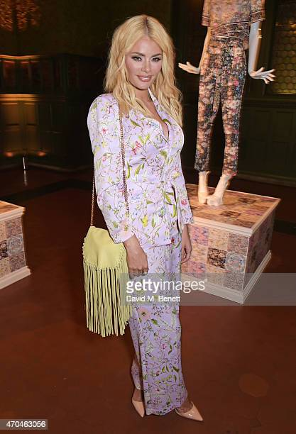 Chloe Sims attends as Oasis and The Victoria and Albert Museum unveil their exclusive print inspired collection at The Victoria and Albert Museum on...
